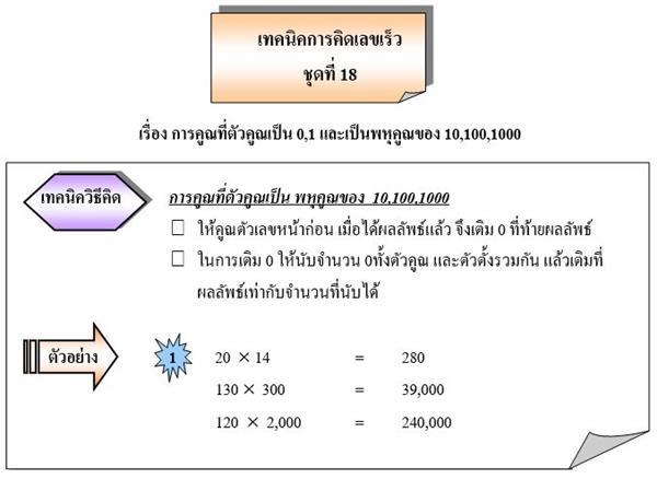 การคูณที่ตัวคูณเป็น 0,1 และเป็นพหุคูณของ 10,100,1000