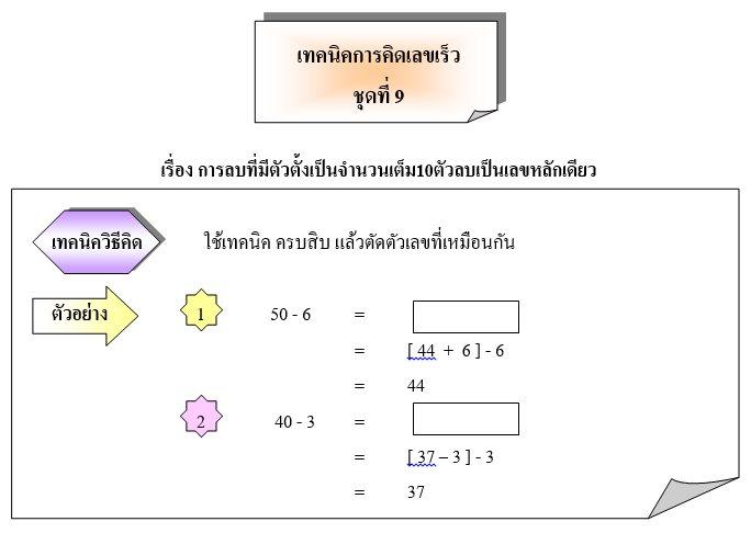 การลบที่มีตัวตั้งเป็นจำนวนเต็ม10ตัวลบเป็นเลขหลักเดียว